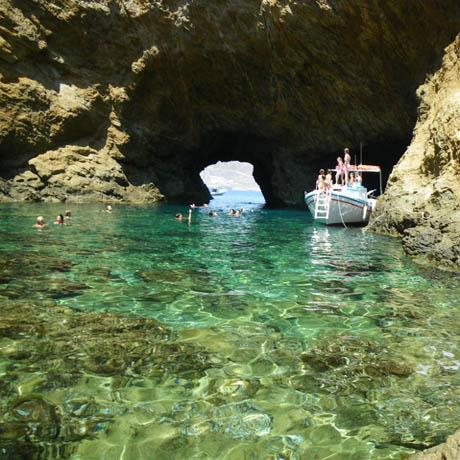 The sea caves of Tragonisi island